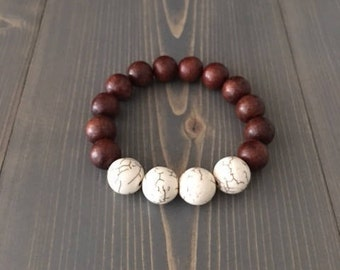 12mm Brown Beads; 14mm Cream Magnesite Round Beads; Stretch Bracelet