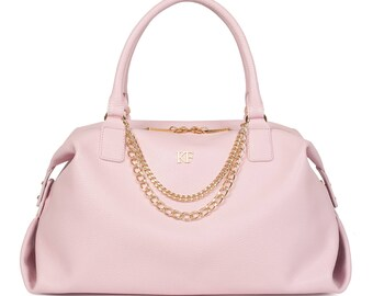 Leather Top Handle Bag, Pink Leather Handbag Top Handle, Women's Leather Bag KF-1105