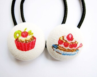 Button Ponytail Holders - Cupcakes and Ice Cream