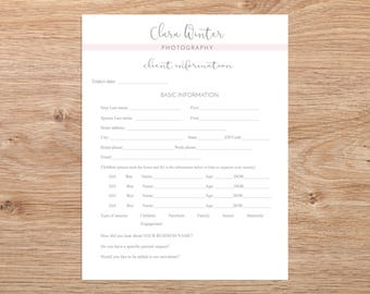 Client Information & Contact Form (for Photographers), Client Information Form, Fully Editable Photoshop Template