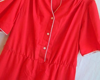 Vintage red dress with white piping and matching belt, c. 1970s