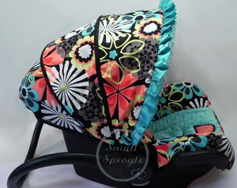 Flower Power/Turquoise MInky Dot Infant Car Seat Cover 5 Piece set
