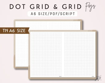 A6 TN Dot Grid and Grid - Printable Traveler's Notebook Insert - Script Theme