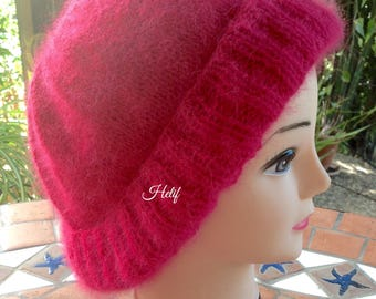 Angora, Pink Hat, one size, french Angora, hand knitted, creating Unique and original HeyLaineInFrance, Strawberry Field