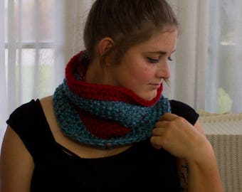 Chunky Crochet Cowl, Chunky Knitted Cowl, Teal and Red Cowl, Chunky Cowl, Red Cowl, Teal Cowl, Striped Cowl, Striped Scarf, Knit Scarf,