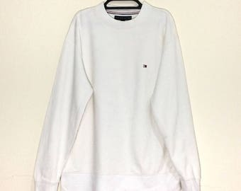 Rare!!! Tommy Hilfiger Box Logo Embroidered Sweatshirt Tommy Jeans Pullover Crewneck s M size White Jacket