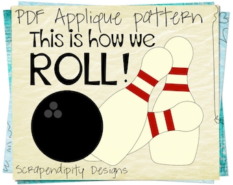 Bowling Applique Pattern - Pins Applique Template / Bowling Birthday Party / Sports Quilt Pattern / Kids Boys Boutique Shirt AP186-D