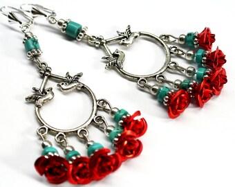 Chandelier Earrings, Red Rose Earrings, Bridal Earrings, Turquoise Earrings, Bird Earrings, Frida Earrings