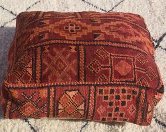 Vintage Moroccan pouf furniture Home chair Square Home decor Multicolor Berber Embroidered Moroccan pouf design Handmade poufs Berber pouf