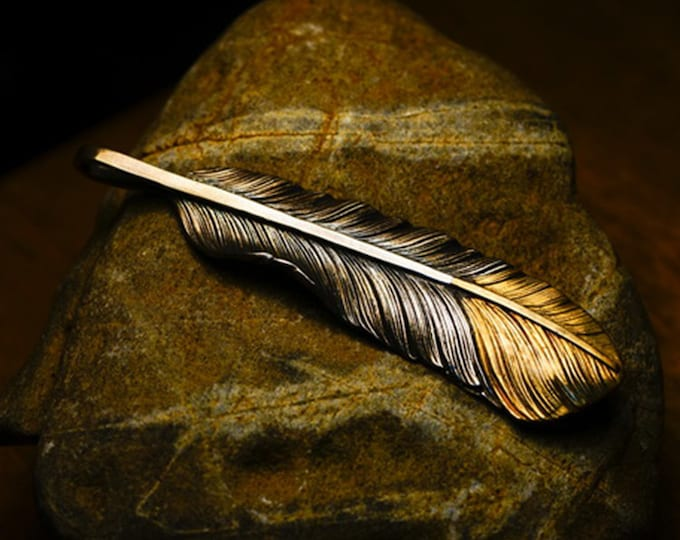Silver Feather Pendant | Native American Inspired | Tribal Pendant | Sterling Silver and Gold Pendant | 18K Gold Charm | Eagle Feather Charm