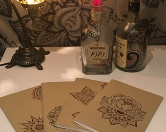 Custom Hand Painted Notebooks Individually Decorated with Unique Mehndi Inspired Designs