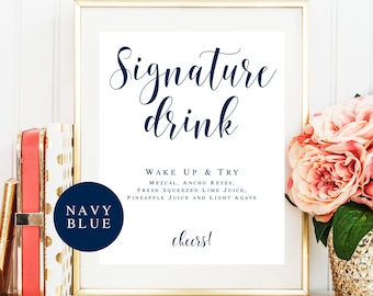 Signature cocktail sign Editable template Navy blue wedding decorations Wedding sign Signature drink sign download Navy blue birthday #vm23