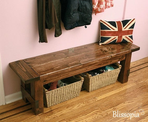 Used Foyer Bench : Farmhouse bench wood dining entryway