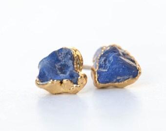 Gold Raw Sapphire Earrings, Delicate Earrings, September Birthstone Earrings, Sapphire Stud Earrings, Tiny Stud Earrings, Raw Gemstone Studs