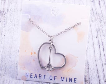Customizable! Heart of Mine: Lacrosse Stick Necklace - Great Lacrosse Gift!