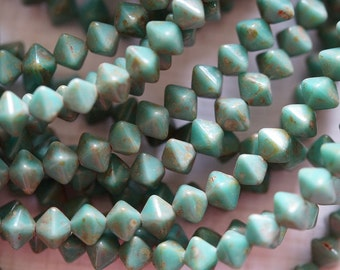 6mm Diamond Beads - Turquoise Picasso Bicones - Premium Czech Glass Beads - Bead Soup Beads