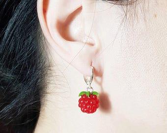 Polymer clay earrings Summer earrings Red raspberry earrings Silver clay earrings Jewelry raspberries Summer fruits Red fruit earrings