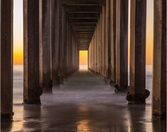 San Diego Beach - La Jolla Pier - Sunset - Fine Art Photography - Wall Decor -Orange - Balanced - Symmetry - Under The Pier