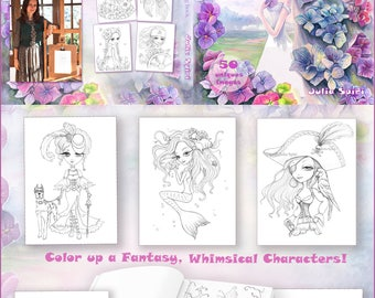 Coloring Book for Adults by Julia Spiri. Whimsical Wonders. Colour up a Fantasy Mermaids, Pirates, Princesses, Fairies and more