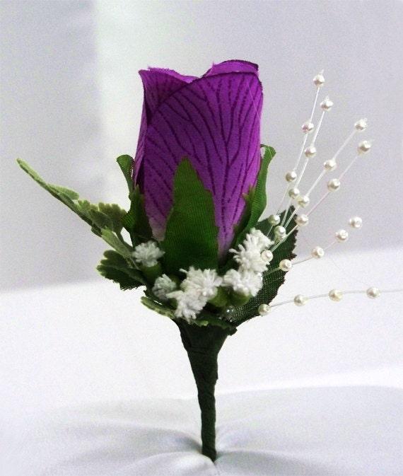 Wedding Purple Silk Boutonniere Eggplant Flowers Rose Mens Corsage Lapel Flower Boutonnieres Lavender Winter Boutineer