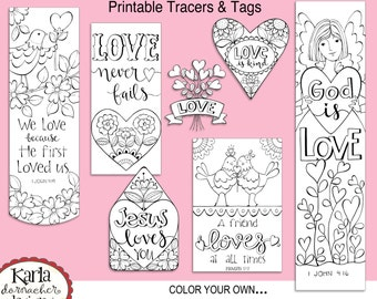 VALENTINE LOVE Color-Your-Own Bookmarks  Bible Journaling Tags Tracers Stickers Instant download Scripture Printable