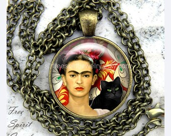 Jewelry, Frida Kahlo Necklace, Black Cat, Mexican Artist, Famous Women Artist, Frida with Black Cat, Frida Kaho Gift