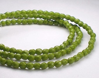 Avocado Green Picasso Czech Glass Fire Polished 3mm Faceted Round Beads 100 pcs. 3mm/124