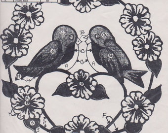 Cameo Inc Cotton Stamped Fabric Love Birds Paint Designs -- Embroidery Punch Needlework Craft