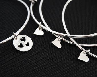 Mother daughter bracelets heart charm bracelet for mother and daughter jewelry Set of 4 Bangles Mother of the bride gift from bride