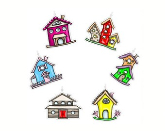 Bird Houses...Bling Charm Ornaments..Set of 12.