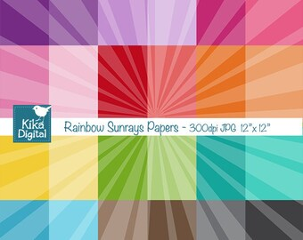 Colorful Sun Rays Digital Papers - Colorful Scrapbook Papers - card design, invitations, background, paper crafts - INSTANT DOWNLOAD