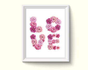 Love Letter Flowers Watercolor Painting Poster Art Print P181