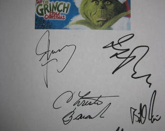 How the Grinch Stole Christmas Signed Film Movie Screenplay Script X8 Autograph Jim Carrey Jeffrey Tambor Ron Howard Taylor Momsen Irwin