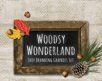 Rustic Wood Shop Branding Banners, Avatar Icons, Business Card, Logo Label + More - 12 Premade Graphics Files - WOODSY WONDERLAND