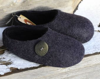 Felted wool slippers.  Dark Grey with Black inside.