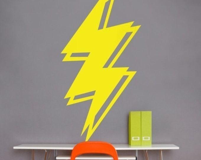 lightning bolt vinyl wall decal, thunder storm wall decor