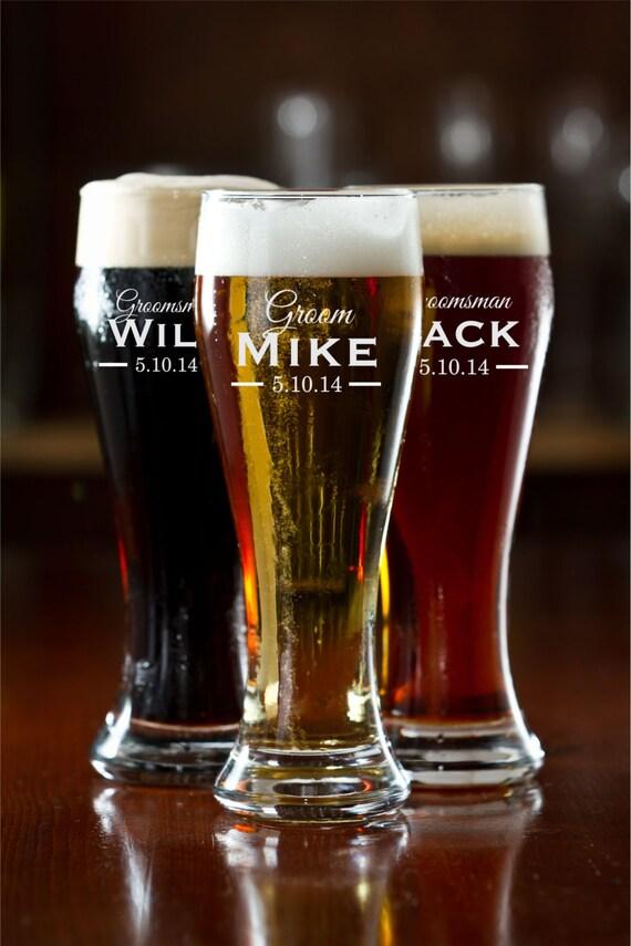 Personalized Pilsner Mug Glass Groomsman Gift Engraved Beer