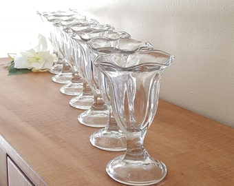 Ice Cream Cups Clear Glass Tall Ice Cream Cups Set of 8