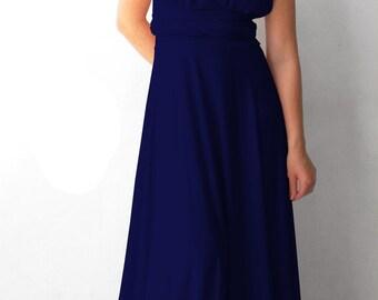 Bridesmaids dress Dark blue Infinity Dress matching tube top - floor length  wrap dress
