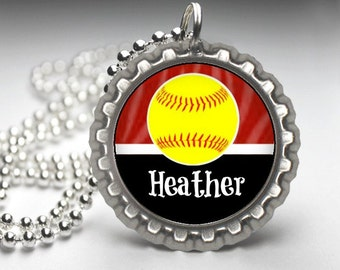 1 Personalized Burgundy Softball Bottlecap Necklace, 15 Color Choices, softball gifts, softball team, softball team gifts, necklaces
