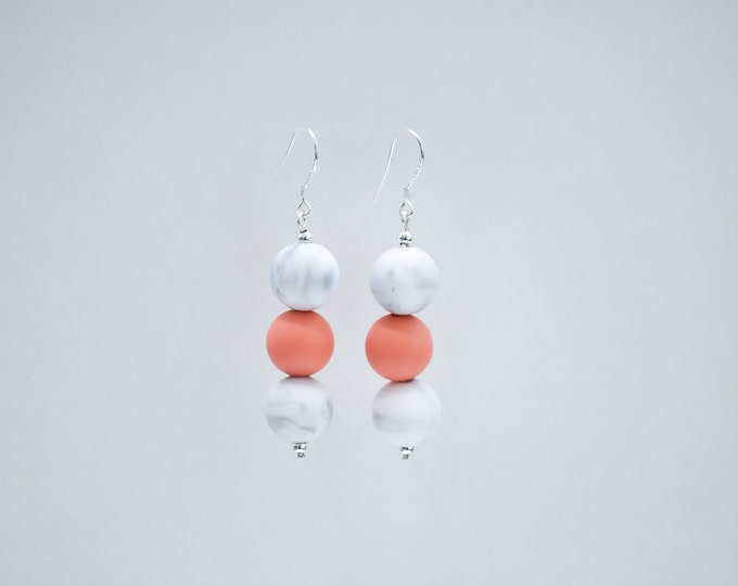 Mini Silicone Beaded Drop Earrings in Peach and Marble.