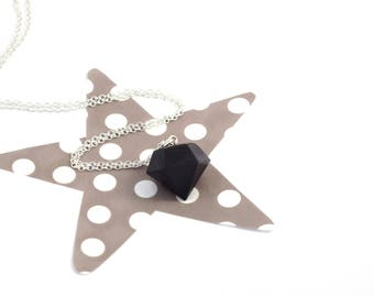 Black concrete and silver plated or gold diamond necklace