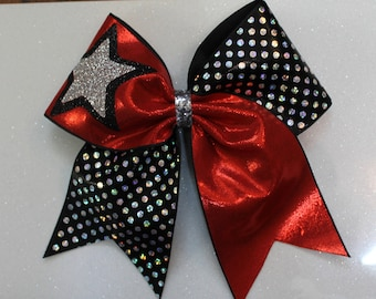 Large CHEER BOW Red Black Silver and star