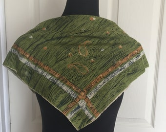 Vintage Green Silk Scarf with Hand Rolled Hem - FREE SHIPPING EVERYWHERE