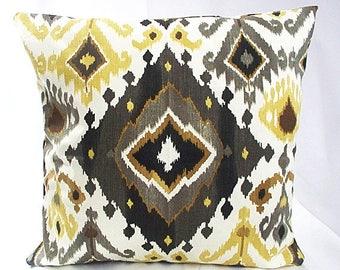 Brown pillow cover, Brown pillowcases, Brown ikat throw pillow,  ikat cushion covers, ikat pillow cover, Ikat throw pillow diamond