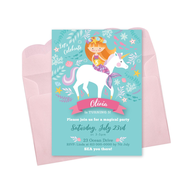 Mermaid Unicorn Invitation Printable Customized DIY