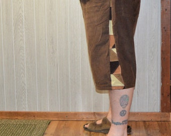 Patchwork Corduroy Shorts Brown Tan Hippie Handmade Festival Heady Upcycled Mens 44