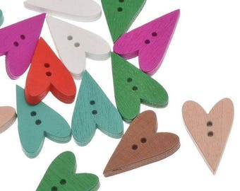 5 buttons in wood - colored elongated hearts - 2 holes - 23x15mm