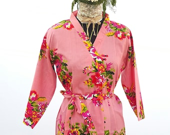 Pink Floral Robes for Bridesmaids Wedding Cotton Kimono Wrap Dress