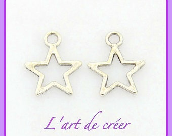 10 charms charms in silver, silver tone star, 14.5 x 12 mm